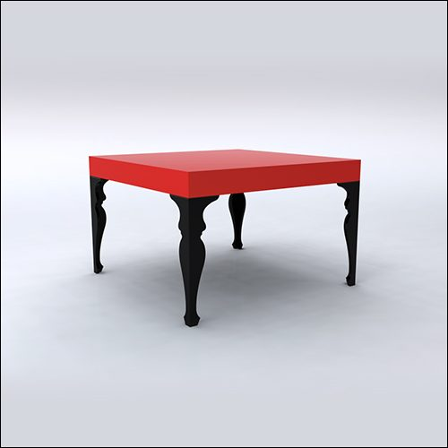 4x4x30 Neo-Baroque Table (RED-BLACK)