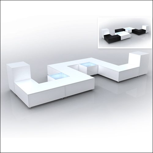 "Mod ""L"" Ottoman White with bolsters F-S-O-005"