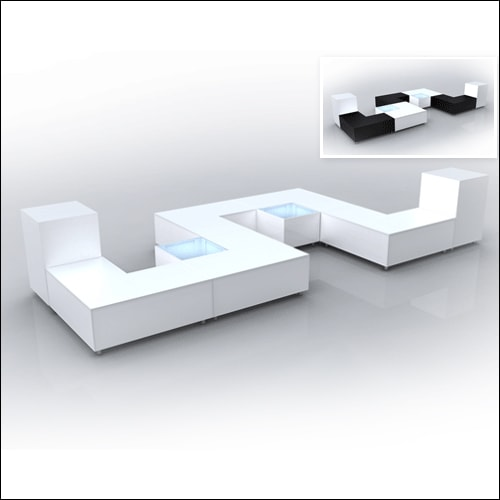 """Mod """"L"""" Ottoman White with bolsters F-S-O-005"""