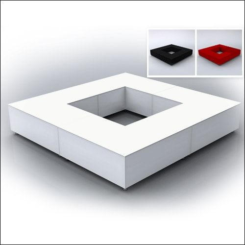 """Mod """"L"""" Ottoman White with bolsters F-S-O-006"""