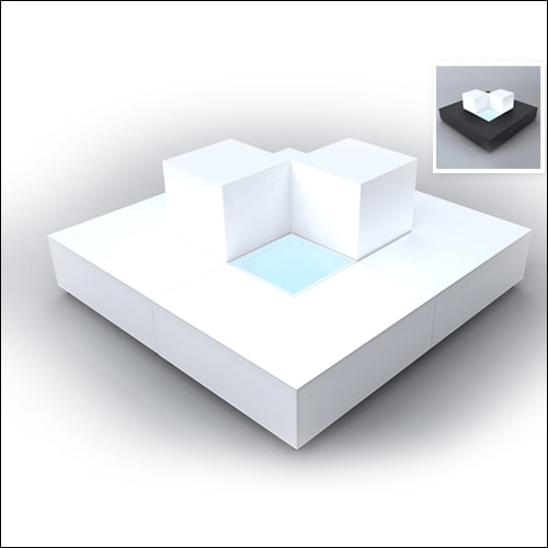 """Mod """"L"""" Ottoman White with bolsters F-S-O-007"""