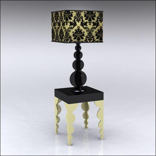 2x2x30-Bubble-Table-W-Lamp-GoldBlack