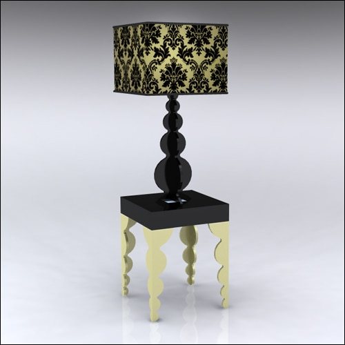 2x2x30-Bubble-Table-W-Lamp-GoldBlack