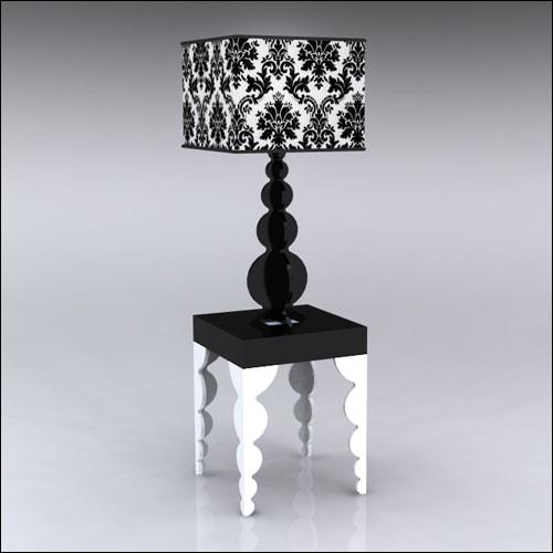 2x2x30-Bubble-Table-W-Lamp-WhiteBlack