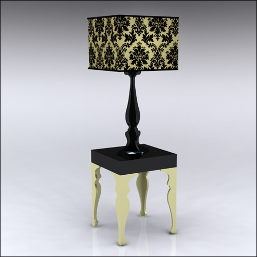 2x2x30-Neo-Baroque-Table-W-Lamp-GoldBlack