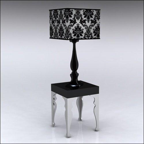 2x2x30-Neo-Baroque-Table-W-Lamp-SilverBlack
