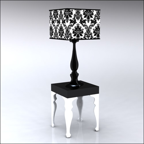 2x2x30-Neo-Baroque-Table-W-Lamp-WhiteBlack