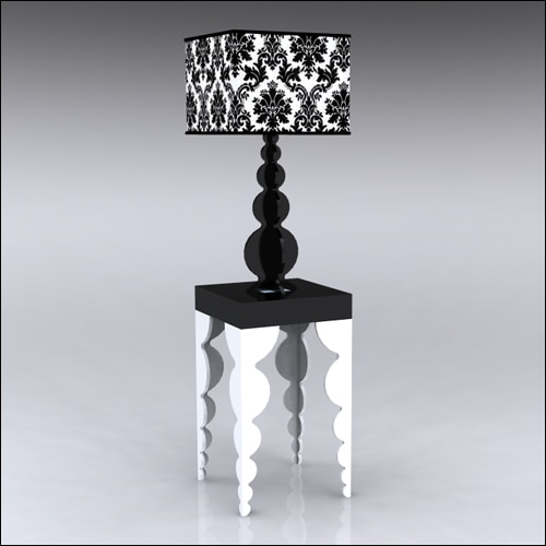 2x2x42-Bubble-Table-W-Lamp-WhiteBlack