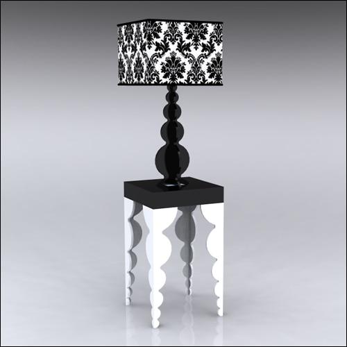 2x2x42-Bubble-Table-W-Lamp-WhiteBlack