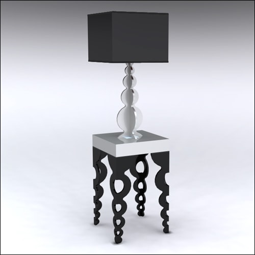 2x2x42-Links-Table-W-Lamp-SilverBlack