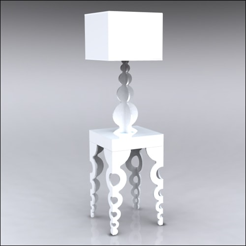 2x2x42-Links-Table-W-Lamp-White