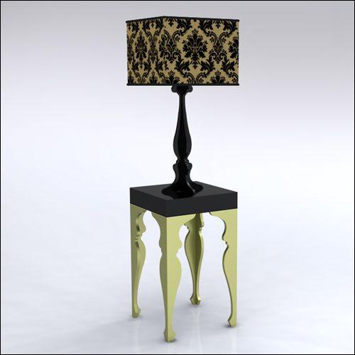2x2x42-Neo-Baroque-Table-W-Lamp-GoldBlack