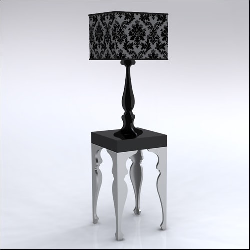 2x2x42-Neo-Baroque-Table-W-Lamp-SilverBlack