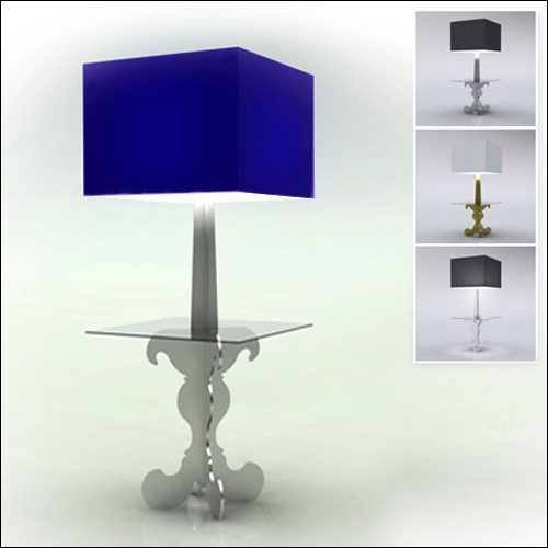 Neo-Baroque Profile Cocktail Table Lamp-High-SQ-Blue