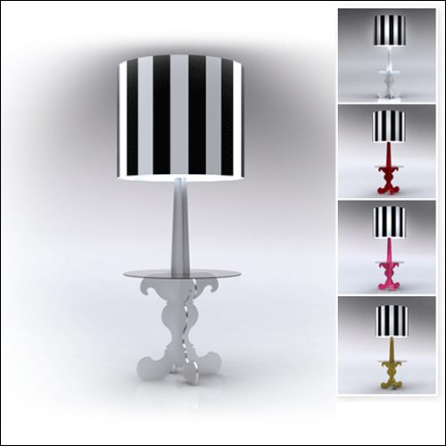 Neo-Baroque Profile Cocktail Table Lamp-Low-White