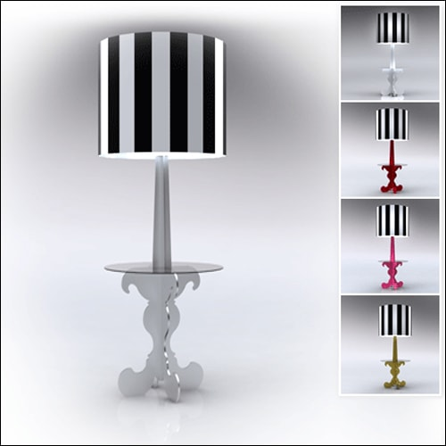 Neo-Baroque Profile Cocktail Table Lamp-White