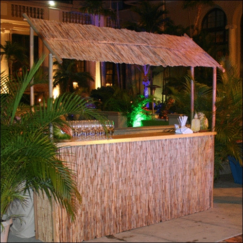 Natural Bamboo Thatched Tiki Bar Dj Booth Eventluxe