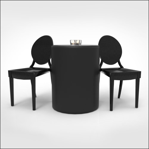 Smooth Black Leather Puff Low Cocktail Table/Display ...