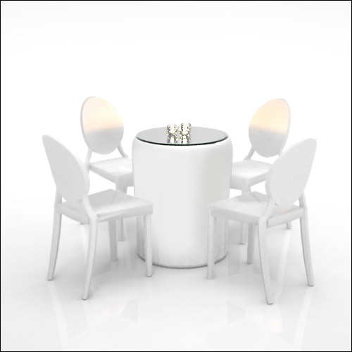 Smooth White Leather Puff Low Cocktail Table/Display ...
