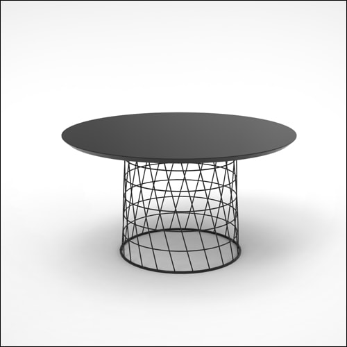 30 Retro Mod Wire Basket Coffee End Table Black Top