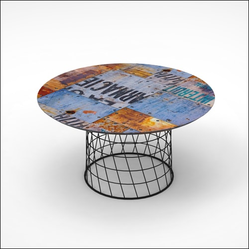 Exceptional Retro Mod Wire Basket Table BRANDED TOP 30in